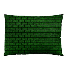 Brick1 Black Marble & Green Leather (r) Pillow Case by trendistuff