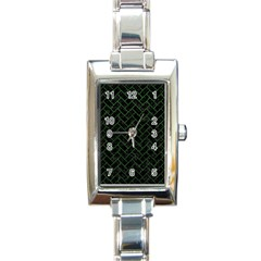 Brick2 Black Marble & Green Leather Rectangle Italian Charm Watch by trendistuff
