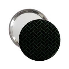 Brick2 Black Marble & Green Leather 2 25  Handbag Mirrors by trendistuff