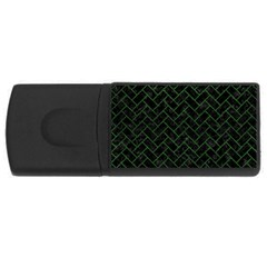 Brick2 Black Marble & Green Leather Rectangular Usb Flash Drive by trendistuff