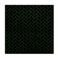Brick2 Black Marble & Green Leather Face Towel by trendistuff