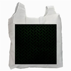 Brick2 Black Marble & Green Leather Recycle Bag (one Side)