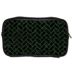 Brick2 Black Marble & Green Leather Toiletries Bags 2 Side by trendistuff