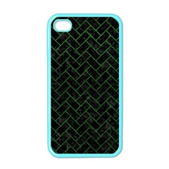 Brick2 Black Marble & Green Leather Apple Iphone 4 Case (color) by trendistuff