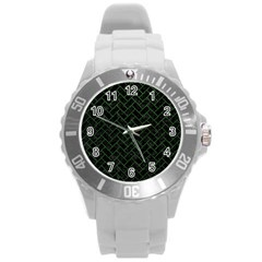 Brick2 Black Marble & Green Leather Round Plastic Sport Watch (l) by trendistuff