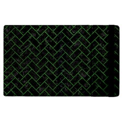 Brick2 Black Marble & Green Leather Apple Ipad 2 Flip Case by trendistuff