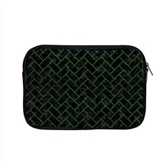 Brick2 Black Marble & Green Leather Apple Macbook Pro 15  Zipper Case