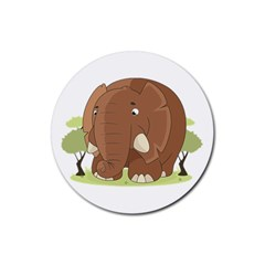 Cute Elephant Rubber Coaster (round)  by Valentinaart