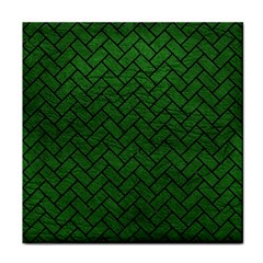 Brick2 Black Marble & Green Leather (r) Tile Coasters by trendistuff