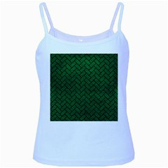 Brick2 Black Marble & Green Leather (r) Baby Blue Spaghetti Tank
