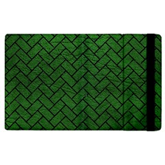 Brick2 Black Marble & Green Leather (r) Apple Ipad 3/4 Flip Case by trendistuff