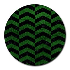 Chevron2 Black Marble & Green Leather Round Mousepads by trendistuff