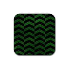 Chevron2 Black Marble & Green Leather Rubber Square Coaster (4 Pack)  by trendistuff