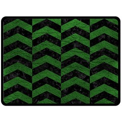 Chevron2 Black Marble & Green Leather Double Sided Fleece Blanket (large)  by trendistuff