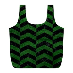 Chevron2 Black Marble & Green Leather Full Print Recycle Bags (l)