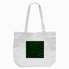 Chevron2 Black Marble & Green Leather Tote Bag (white) by trendistuff