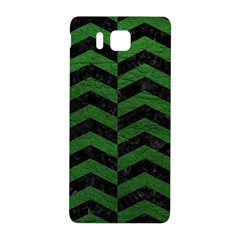 Chevron2 Black Marble & Green Leather Samsung Galaxy Alpha Hardshell Back Case by trendistuff