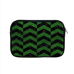 Chevron2 Black Marble & Green Leather Apple Macbook Pro 15  Zipper Case by trendistuff