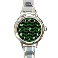 CHEVRON3 BLACK MARBLE & GREEN LEATHER Round Italian Charm Watch