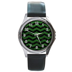 CHEVRON3 BLACK MARBLE & GREEN LEATHER Round Metal Watch