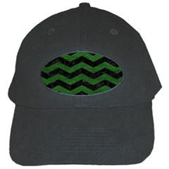 CHEVRON3 BLACK MARBLE & GREEN LEATHER Black Cap