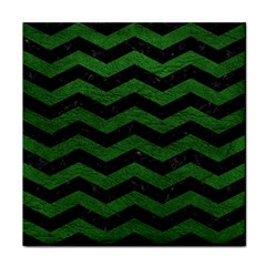 CHEVRON3 BLACK MARBLE & GREEN LEATHER Tile Coasters