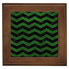 CHEVRON3 BLACK MARBLE & GREEN LEATHER Framed Tiles