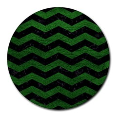 CHEVRON3 BLACK MARBLE & GREEN LEATHER Round Mousepads