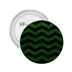 CHEVRON3 BLACK MARBLE & GREEN LEATHER 2.25  Buttons