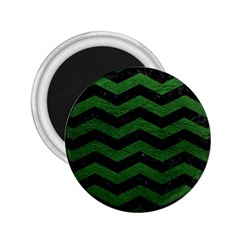 CHEVRON3 BLACK MARBLE & GREEN LEATHER 2.25  Magnets