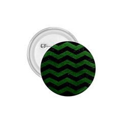 CHEVRON3 BLACK MARBLE & GREEN LEATHER 1.75  Buttons