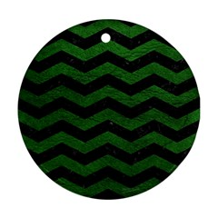 CHEVRON3 BLACK MARBLE & GREEN LEATHER Ornament (Round)