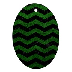 CHEVRON3 BLACK MARBLE & GREEN LEATHER Ornament (Oval)