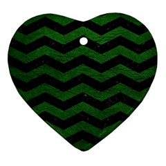 CHEVRON3 BLACK MARBLE & GREEN LEATHER Ornament (Heart)