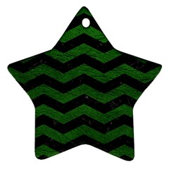 CHEVRON3 BLACK MARBLE & GREEN LEATHER Ornament (Star)