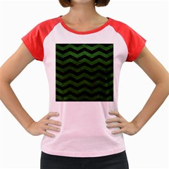 CHEVRON3 BLACK MARBLE & GREEN LEATHER Women s Cap Sleeve T-Shirt