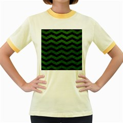 CHEVRON3 BLACK MARBLE & GREEN LEATHER Women s Fitted Ringer T-Shirts