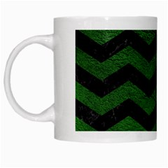 CHEVRON3 BLACK MARBLE & GREEN LEATHER White Mugs
