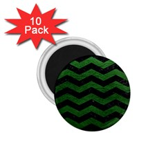 CHEVRON3 BLACK MARBLE & GREEN LEATHER 1.75  Magnets (10 pack)