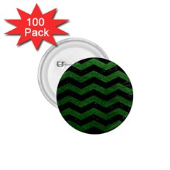 CHEVRON3 BLACK MARBLE & GREEN LEATHER 1.75  Buttons (100 pack)