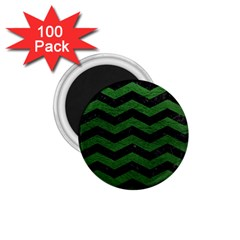 CHEVRON3 BLACK MARBLE & GREEN LEATHER 1.75  Magnets (100 pack)