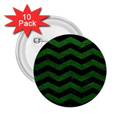 CHEVRON3 BLACK MARBLE & GREEN LEATHER 2.25  Buttons (10 pack)