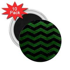 CHEVRON3 BLACK MARBLE & GREEN LEATHER 2.25  Magnets (10 pack)