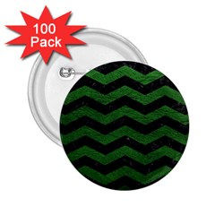 CHEVRON3 BLACK MARBLE & GREEN LEATHER 2.25  Buttons (100 pack)