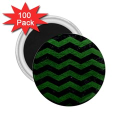 CHEVRON3 BLACK MARBLE & GREEN LEATHER 2.25  Magnets (100 pack)
