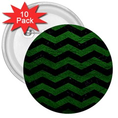 CHEVRON3 BLACK MARBLE & GREEN LEATHER 3  Buttons (10 pack)