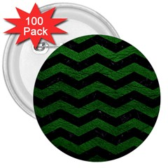CHEVRON3 BLACK MARBLE & GREEN LEATHER 3  Buttons (100 pack)