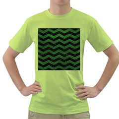 CHEVRON3 BLACK MARBLE & GREEN LEATHER Green T-Shirt