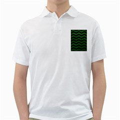 CHEVRON3 BLACK MARBLE & GREEN LEATHER Golf Shirts