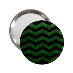 CHEVRON3 BLACK MARBLE & GREEN LEATHER 2.25  Handbag Mirrors
